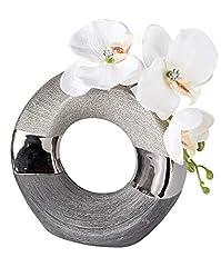 Idea Regalo - Moderno Vaso Decorativo Per Fiori in ceramica Luxor Argento Rotondo 18 cm