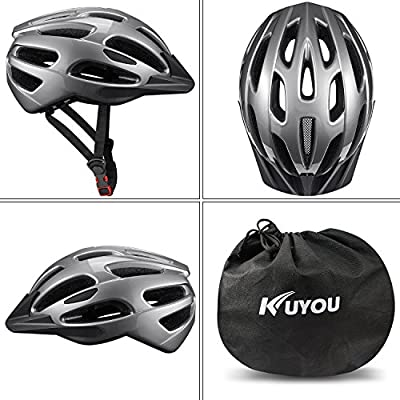 Kuyou Adult Cycling Bike Helmet with Safety Light Adjustable Ultralight Stable Road/Mountain Bike Cycle Helmets For Mens Womens Adjustable 56cm - 61cm by KUYOU