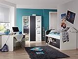 Komplett Kinderzimmer weiß anthrazit Kinderbett Kleiderschrank Schreibtisch