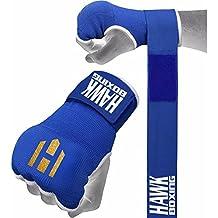 Hawk guantes de boxeo de interior guantes de entrenamiento para saco de boxeo mano wraps vendas, color azul, tamaño S/M