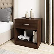Amazon Brand - Solimo Mars Engineered Wood Bedside Table with drawer (Walnut Finish)