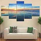 AnnBlue Leinwand Gemälde Wohnzimmer Home Decor 5 Stücke Ocean Beach Sea Waves Bilder Sonnenaufgang Seascape Poster Modulare Wandkunst Rahmen,Kein Rahmen