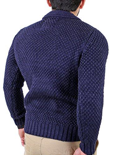 Reslad Herren Vintage Grobstrick Winter Pullover RS-3213 Navyblau