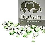 EinsSein 600x Diamantkristalle 12-10- 5mm Mix Klar-Hellgrün Dekoration Streudeko Konfetti Tischdeko Hochzeit Diamanten Diamant Glas groß Geburtstag