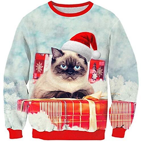 Goodstoworld Hässlicher Weihnachtspullover 3D Junge Katze Pullover Weihnachten Sweatshirt Cat Ugly Christmas Sweater Teenager L