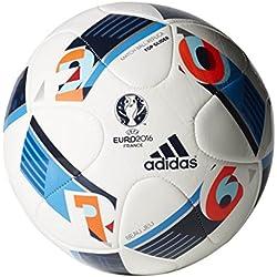 adidas EURO16TOPGLI - Balón de fútbol, color blanco / azul / naranja, talla 5