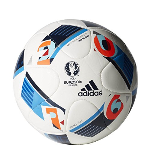 adidas Herren Ball EURO 2016 Top Glider, White/Bright Blue/Night Indigo, 5, AC5448