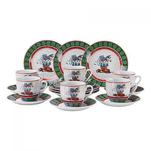Van Well Kaffeeservice Waldweihnacht 18tlg. für 6 Personen weiß mit Weihnachtsdekor