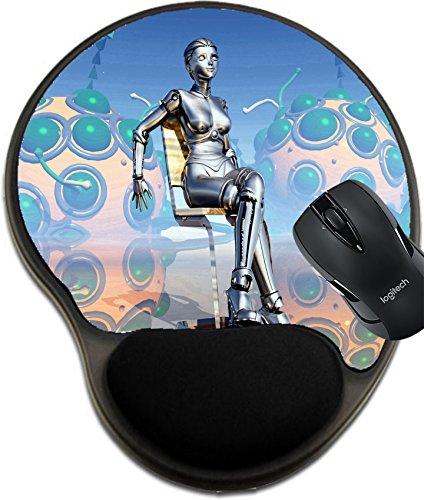 MSD 30200809 Mauspad aus Naturkautschuk mit Handgelenkstütze, Motiv weiblicher Roboter auf Stuhl (Schaum-roboter)