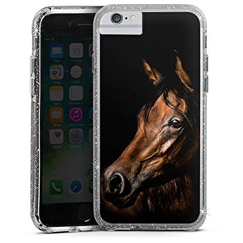Apple iPhone 7 Bumper Hülle Bumper Case Glitzer Hülle Pferd Horse Braun Bumper Case Glitzer silber