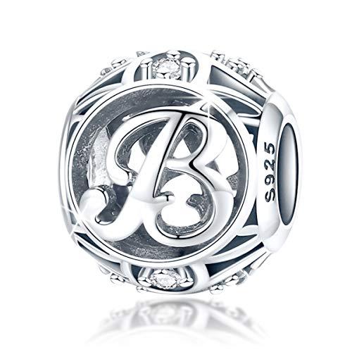FOREVER QUEEN Alphabet Buchstabe B Charm Bead mit klaren Zirkonia kompatibel für europäische Armbänder 925 Silber Sterling Charm Anhänger,BJ09121-B MEHRWEG -