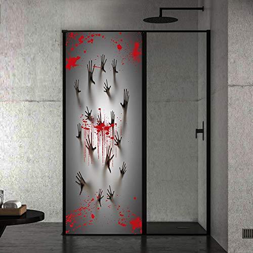 LIZHIOO Türaufkleber Blutige Handprint Schleifglas Badezimmertür PVC Halloween Dekoration Wandaufkleber Retro 77 * 200com