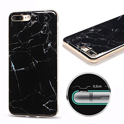 iPhone 7Plus Custodia, Marmo Design Pattern TPU sottile in silicone Custodia protettiva per iPhone 7Plus, E Lush cristallo trasparente trasparente antigraffio Custodia Ultra Chic Thin Morbido Custod nero