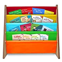 Fineway. 4 Tier Kids Book Storage Rack Wooden Sling Bookshelf Childrens Bookcase Shelves