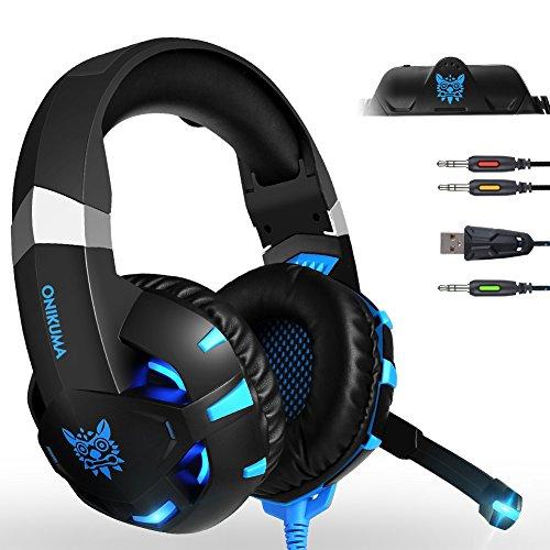 PS4 Cuffie da Gioco, Cuffie gaming per PC con Microfono e Stereo Bass,Noise Cancelling, Stereo y Jack da 3.5 mm,Multi-Platform Cuffia di Controllo del Volume LED per Xbox One PC Tablet Laptop (Blu)