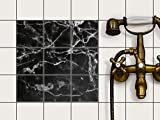 creatisto Küche Bad Fliesentattoo | Fliesendeko Badezimmer-Fliesen Fliesenmotiv Badezimmerdeko | 10x10 cm Design Motiv Marmor schwarz - 9 Stück
