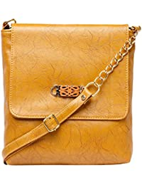 Yellow Color Trendy Fashionable PU Sling Bag Shoulder Bag Cross Body Bag For Girls