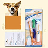 Mouchao Set de Pasta de Dientes para Mascotas Perro para Perros Cuidado bucal Gatos Perros Cepillo de Dientes Suministros para Mascotas Sabor Vainilla