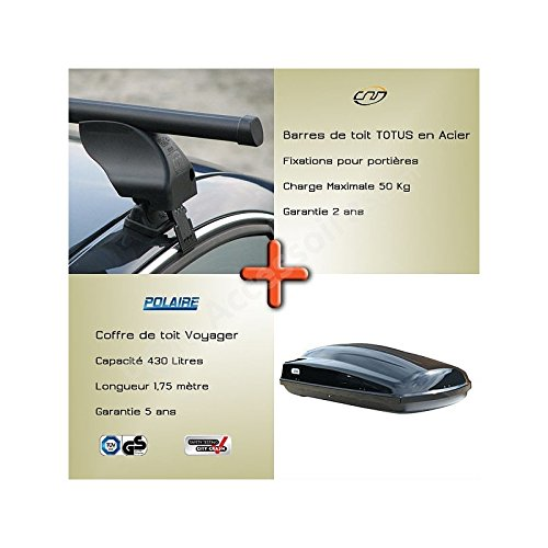 Pole Accessoires - Pack Barres de toit et coffre de toit ALFA ROMEO 166 [09/1998 -- 06/2007] BMW Série 3 Coupé (E36) [03/1992 -- 04/1999] CITROEN C1 [06/2005 -- 06/2014] CITROEN C1 [07/2014 -- aujourd'hui] HONDA CIVIC 5 portes [1996 -- 2000] HYUNDAI GETZ [08/2002 -- 09/2009] HYUNDAI i10 [02/2008 -- 11/2013] MAZDA 2 5 portes [2004 -- 06/2007] PEUGEOT 107 5 portes [06/2005 -- 06/2014] PEUGEOT 108 [07/2014 -- aujourd'hui] ROVER 400 [03/1996 -- 01/2000] ROVER 45 [02/2000 -- 04/2005] ROVER 45 4 portes [02/2000 -- 04/2005] SKODA FELICIA [1994 -- 2001] TOYOTA AYGO [07/2005 -- 06/2014] TOYOTA AYGO [07/2014 -- aujourd'hui] VOLKSWAGEN GOLF 2 5 portes [09/1985 -- 08/1992] fixation portières
