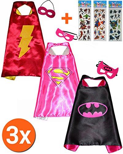 Batgirl + Supergirl + Flash girl Cape und maske (Set 3 Stück) + 3 Aufkleber! Umhänge und Maske - Superhelden-Kostüme für Kinder Cape und Maske Pyjamahelden Owlette - Spielzeug Verkleiden & Kostüme Jungen und Mädchen Fasching Motto-Partys! - King Mungo - KMSC041 (Batgirl Kostüm Set)