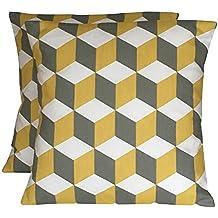 "2,5x 40,6cm handgefertigt gelb (Safran) & Grey Geometric Cube Print Kissen, 100 % Baumwolle, SAFFRON, GREY, WHITE, 20"" (50cm x 50cm)"