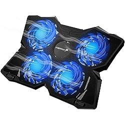 Fosmon Refroidisseur PC Ordinateur Portable de 13 à 17 Pouces, 4 Ventilateurs (1200 RPM) Ultra-Silencieux et Puissant, Support Ventilé et 2 USB Ports Gamer Gaming Plaque pour Laptop, PS4, MacBook Pro