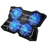 Fosmon Refroidisseur PC Ordinateur Portable de 13 à 17 Pouces, 4 Ventilateurs (1200 RPM) Ultra-Silencieux et Puissant,...