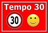 Melis Folienwerkstatt Schild - Tempo 30-30x20cm | Bohrlöcher | 3mm Hartschaum - S00040-043-D - 20 Varianten