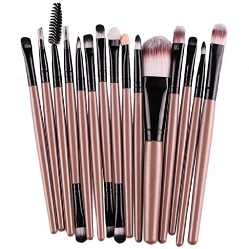 Tonsee 15 pièces / Set Eye Shadow Foundation Sourcils Lip Brush pinceaux de maquillage outils (Or 3)