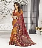 Ankit Fashions Orange Printed Silk Georgette Sari