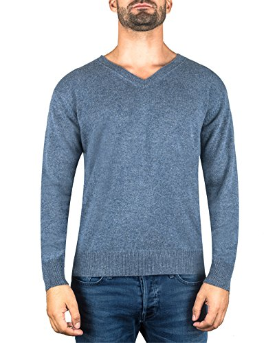 Cashmere Denim Pullover (CASH-MERE.CH 100% Kaschmir Herren Pullover | Sweater V-Ausschnitt 2-fädig (Blau/Jeans, L))