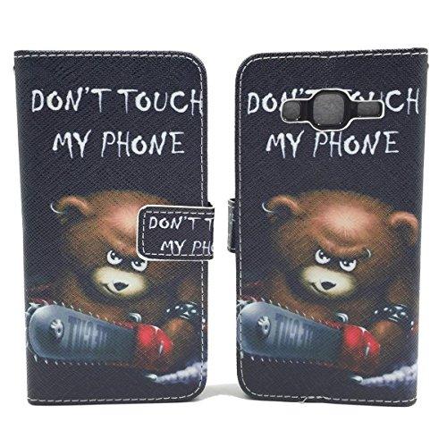König-Shop Handy Tasche für Apple iPhone SE Flip Cover Case Schutz Hülle Etui Motiv Wallet, Farbe:Don't touch my Phone Rot Don't touch my Phone Bär