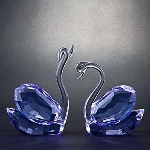 Décoration Cristal Couple de cygnes bleus