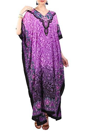 Miss Lavish London Frauen Damen Kaftan Tunika Kimono freie Größe Lange Maxi Party Kleid für Loungewear Urlaub Nachtwäsche Strand jeden Tag Kleider #101 [Lila EU 46-50] -
