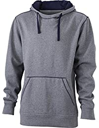 James & Nicholson Hooded sweatshirt with fashionable contrasting seams (XL, grey-melange/navy)