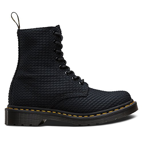 Dr.Martens Womens Page Waffle 8 Eyelet Black Cotton Boots 42 EU (Ankle Eyelet Boots)