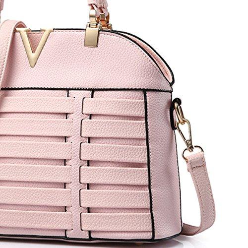 Borsa Di Colore Solido Borsa Messenger Di Spalla Di Cuoio Signora PU Tessuto Pink