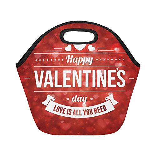 Isolierte Neopren-Lunchpaket Happy Valentines Day Nachricht Vintage Retro Large Size wiederverwendbare thermische Dickes Mittagessen Tragetaschen Für Lunchboxen Für draußen, Arbeit, Büro, Schule (Valentine Die Karten Für Schule)