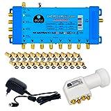 Multischalter pmse 5/8 HB-DIGITAL SET für 1x SAT bis 8 x Teilnehmer / Receiver für Full HDTV 3D 4K UHD mit Netzteil + Quattro LNB 0,1dB