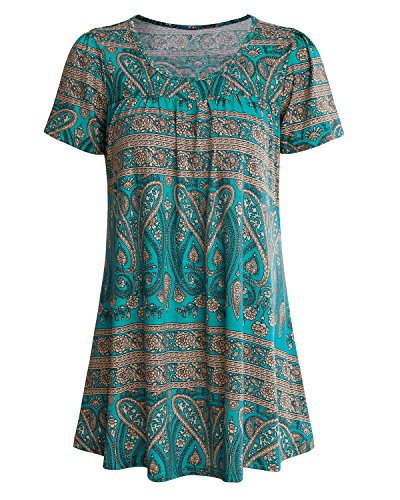 SOLERSUN Plus Size Blusen und Tops für Frauen, Sommer U-Ausschnitt Stilvolle Plissee Bluse Top Tunika Shirt für Leggings (Blau XXL) -