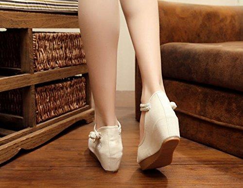 DESY scarpe ricamate, biancheria, suola del tendine, stile etnico, aumento scarpe femminili, moda, comodo, casual beige