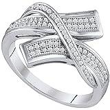 10Kt Weiß Gold Damen Rund 0,11Karat Diamant Crossover Bypass Band 1/4Karat