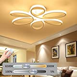 Deckenleuchte LED Dimmbar Deckenlampe Moderne Wohnzimmerlampe Kunst Designer-Lampe Metall Acryl Sechs Blütenblätter Romantisch Und Warm Decke Leuchte Innenraumlampe Beleuchtung Schlafzimmer Küche 40W
