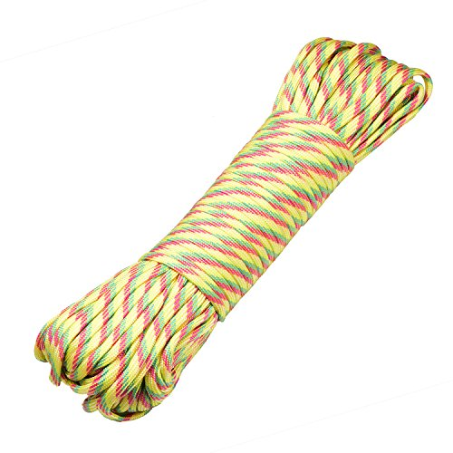 DonDon 30 Meter langes Stoffband Nylon-Schnur Paracord-Seil Survival Band zum Basteln und für Outdoor Camping Aktivitäten 4 mm - 7 Stränge gelb-rot-grün