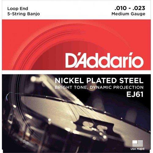 D'Addario EJ61 Banjo 5-string Nickel Wound, Loop End, medium 10-23