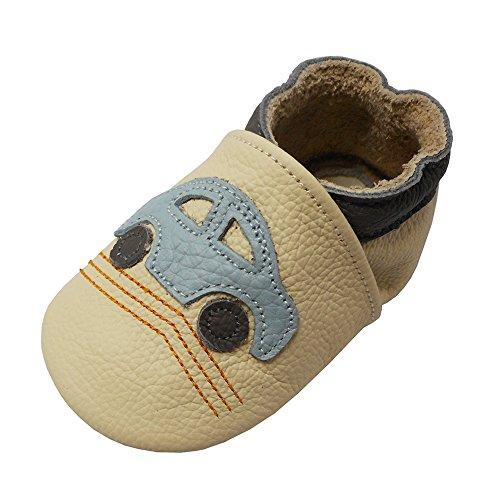 YALION Premium Weich Leder Babyschuhe Krabbelschuhe Lauflernschuhe Hausschuhe mit Auto Beige, 6-12 Monate