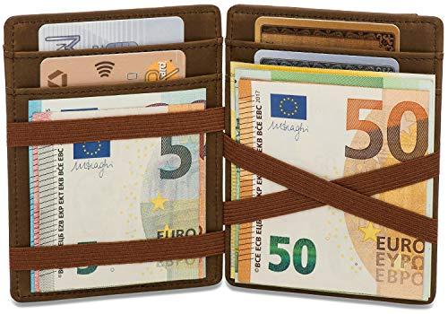 llet mit Münzfach - TÜV Geprüfter RFID Schutz (8 Kartenfächer) Magischer Geldbeutel braun mit Geschenkbox - Owl ()