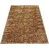 Orientteppich Schaggy handgeknüpft Langflor ca. 225x160 cm Schwarz / Gold ETFA