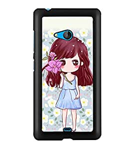 PRINTSWAG CUTE GIRL WITH FLOWER Designer Back Cover Case for MICROSOFT LUMIA 540