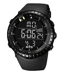 Montre Sport Etanche 50M Multi-fontion Montre Numérique Digitale Quartz Affichage à LED Cadeau pour Homme - Noir